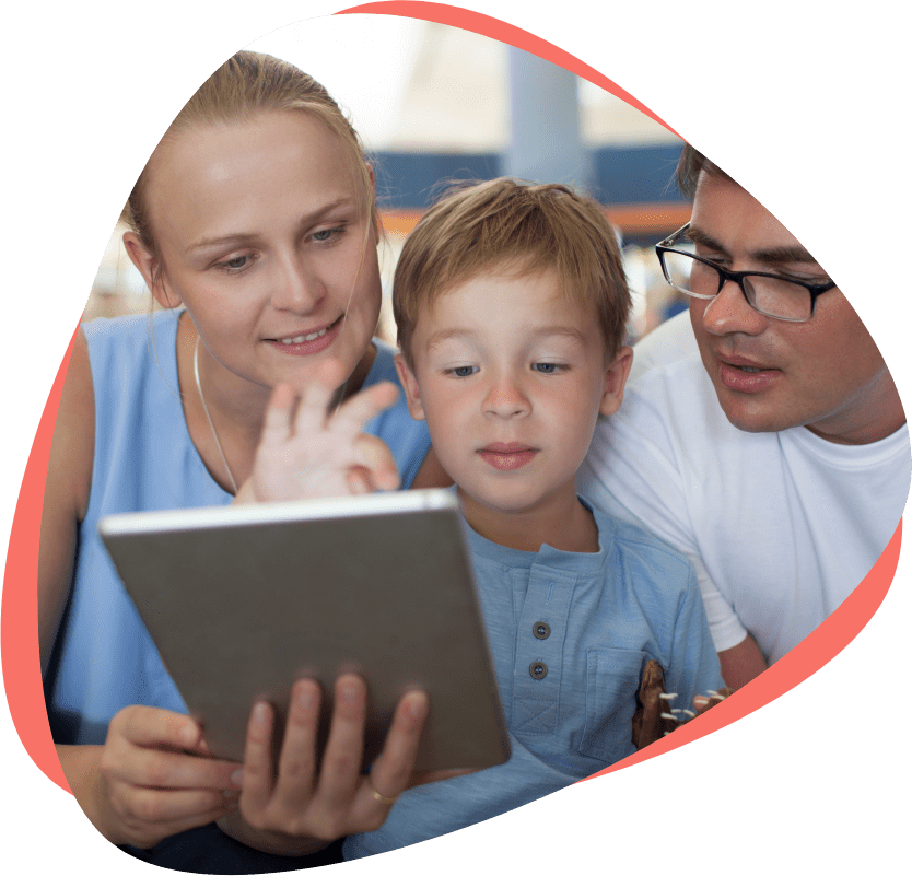 child and parents reading on smart device free kids reading guides readingmate guide page