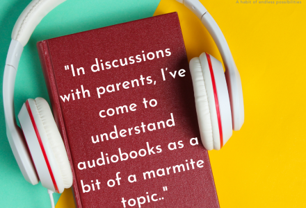 readingmate blog audiobooks help children to read (book with headphones on)