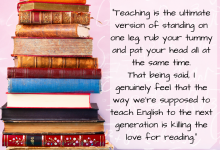 readingmate blog how to stop english lessons hurting child's love of books - stack of books plus quote from article